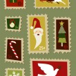 Christmas postage stamps set — Stock Vector