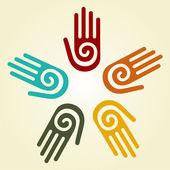La main avec le symbole de la spirale dans un cercle — Vecteur