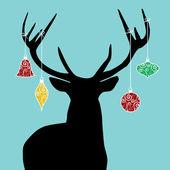 Christmas reindeer silhouette — Stock Vector