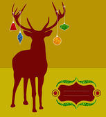 Christmas reindeer silhouette greeting card — Stock Vector