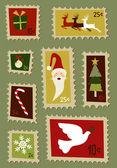 Christmas postage stamps set — Stock Vector