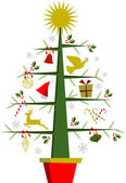 Christmas tree with symbols and decorations — Stock Vector