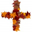 Plus symbol multicolored fall leaf composition isolated — Stock Photo