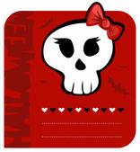 Halloween Skull girl greeting card — Stock Vector