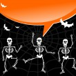 Halloween skeletons with spiderweb and bubble background - Stock Vector