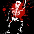 Stock Vector: Halloween dancing skeleton background