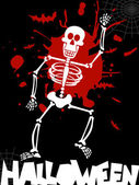 Halloween dancing skeleton background — Stock Vector