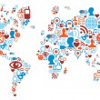 World map shape made with social media icons — Vector de stock