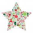 Social media icons in christmas star — Stock Vector