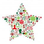 Social media icons in christmas star — Stock Vector