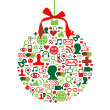 Christmas bauble with social media icons  — Stock Vector