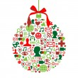 Christmas bauble with social media icons — Stock Vector #7096315