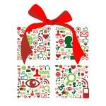 Christmas giftbox made with social media icons — Stock Vector