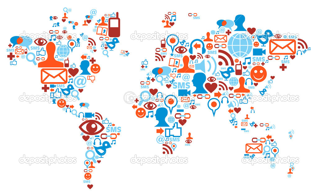 Social media network icons in world map shape concept — Stock Vector #7096248