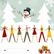 Snowman Happy Christmas card. — Vettoriali Stock