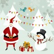 Santa Claus and Snowman Christmas card. — Stock Vector
