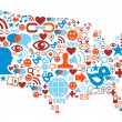 USA map with social media network icons — Vettoriali Stock