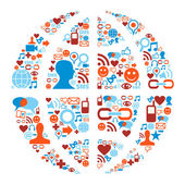 World symbol in social media network icons — Stock Vector