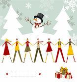 Snowman Happy Christmas card. — Stock Vector
