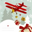 Santa Claus in airplane — Stock Vector