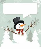 Snowman Christmas with dialogue balloon — Stock Vector