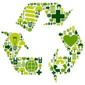 Símbolo de reciclaje con los iconos del medio ambiente — Vector de stock