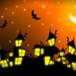 Halloween night city background - Stockfoto