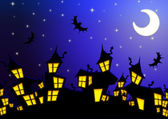 Halloween night city background — Stock Photo
