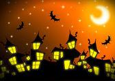 Fond de ville nuit halloween — Photo