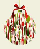 Christmas Bauble Cutlery — Stock Vector