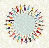 Dünya çapında dünya sosyal medya ağı — Stok Vektör