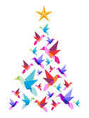 Origami hummingbirds Christmas tree. — Stock Vector
