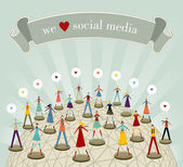 We love social media network — Stock Vector