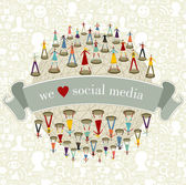 We Love social media network — Stock Vector