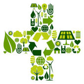 Plus symbol with environmental icons — Stock Vector