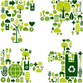 Puzzle piece with environmental icons — Stock Vector