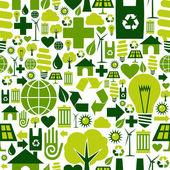 Groene omgeving pictogrammen patroon achtergrond — Stockvector