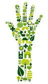 人間の手と環境アイコン — ストックベクタ