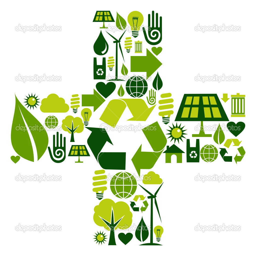 Sum symbol made with environmental icons set — Stock Vector #7429724