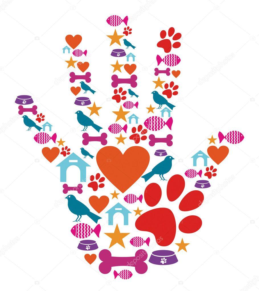 宠物动物保护手图标集