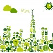 Green City silhouette with environmental icons — Stock Vector