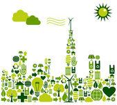 Grön stad siluett med miljömässiga ikoner — Stockvektor