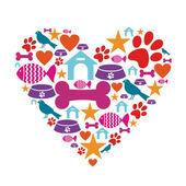 Love for pets icon collection — Stock Vector