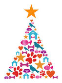 Pet cate Christmas tree — Stock Vector