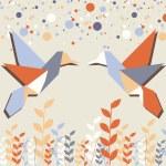 Origami hummingbird couple over beige — Stock Vector