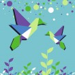 Origami hummingbird couple spring time — Stok Vektör