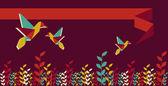 Origami hummingbird group banner — Stock Vector