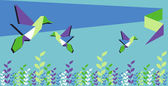 Origami hummingbird spring time — Stock Vector