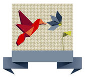 Single Origami hummingbird over textile pattern — Stock Vector