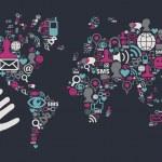 Usb hand reaches a social media world map — Stock Vector